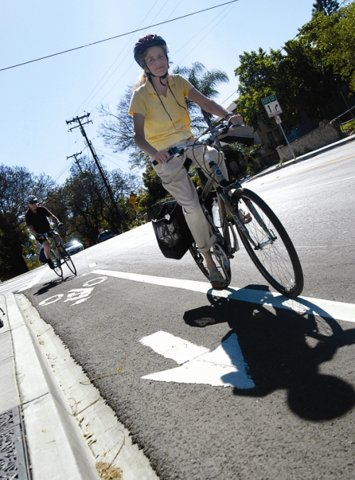 Marked Bike Lane with Riders