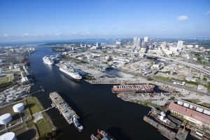 Tampa Port and channelside skyline view from north looking south out to Old Tampa Bay