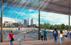 Artist rendering of proposed promenade along the river.