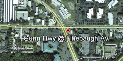 The intersection is less than 1 mile northwest  of the Dale Mabry/Busch Blvd overpass.