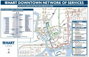 Downtown Tampa trolley and bus service map