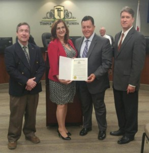 Pictured from left to right: Shawn College, AICP, River Board Executive Director; Lisa Montelione, River Board Chair and Tampa City Council; Frank Chillura, Mayor of Temple Terrace; Grant Rimbey, River Board Vice Chair and Temple Terrace City Council.
