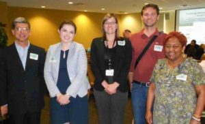 "Domingo Noriega, AECOM; Allison Marron and Daragh Gibson, Florida Department of Health-Hillsborough County; and Wade Reynolds and Michele Ogilvie, MPO staff, presented the George Road Health Impact Assessment at USF's ""Coming Home to Social Justice"" on March 4, 2016"