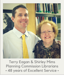 Librarians Shirley Mims and Terry Eagan