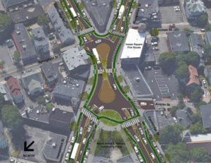 A proposed design in Cambridge. Imagecredit: Kittelson and Associates via Boston Cyclists Union.