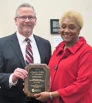 Planning Commissioner Jacqueline Wilds receiving farewell award