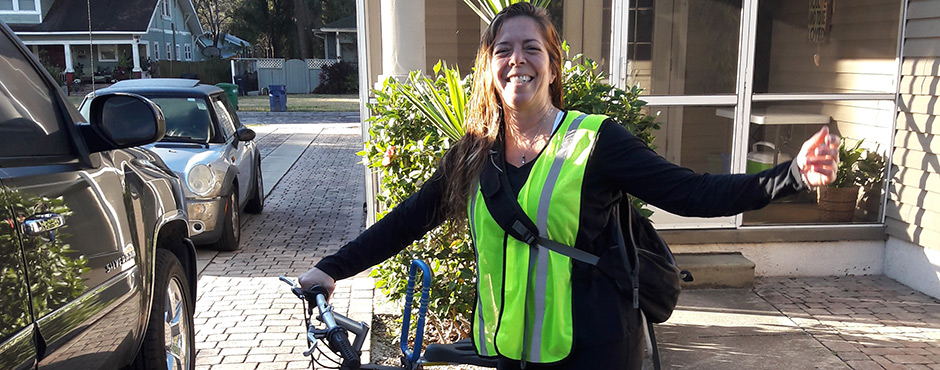 Genna Torres participating in the 2019 Commuter Challenge