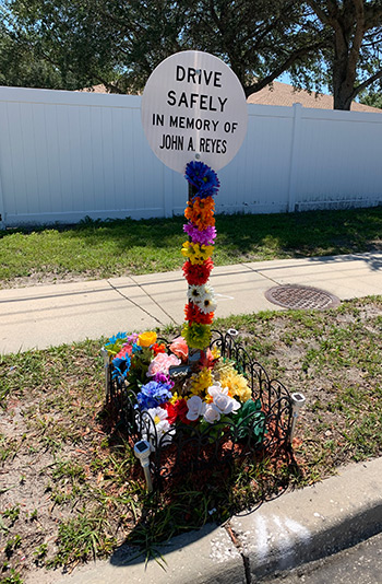 drive safely, in memory of marker for cyclist killed by motorist