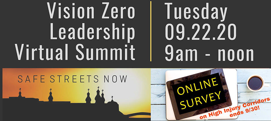 vision zero summit and survey graphic
