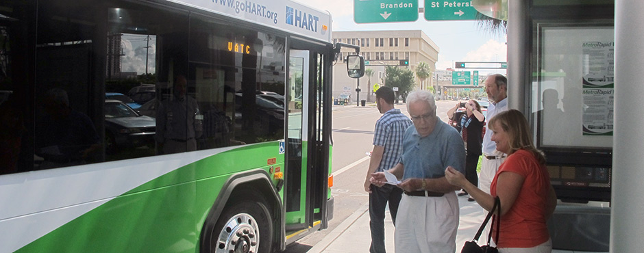 express bus riders getting onto the bus