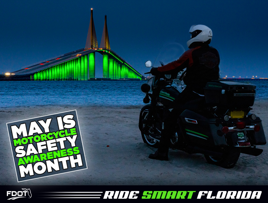 may is motorcycle safety awareness month graphic from FDOT