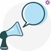 Icon of a megaphone and thought bubble